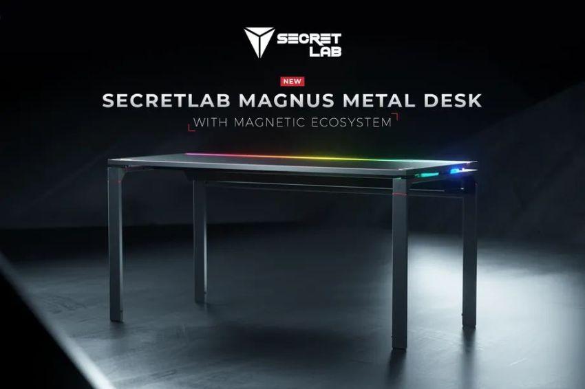 Secretlab MAGNUS Metal Desk Uses Magnetic Accessories for Cable Management