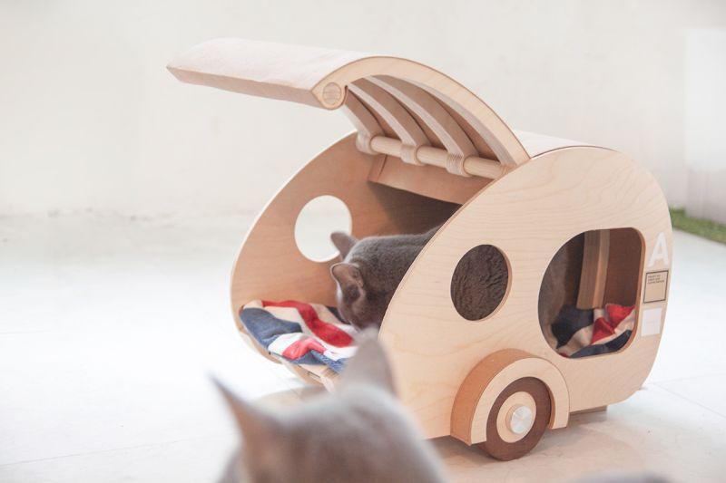 Korea Designer Creates Wooden Cat house in Shape of Teardrop Trailer