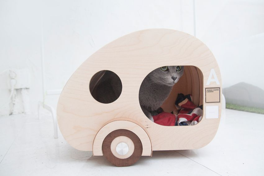 Korea Designer Creates Wooden Cat house in Shape of Teardrop Trailer