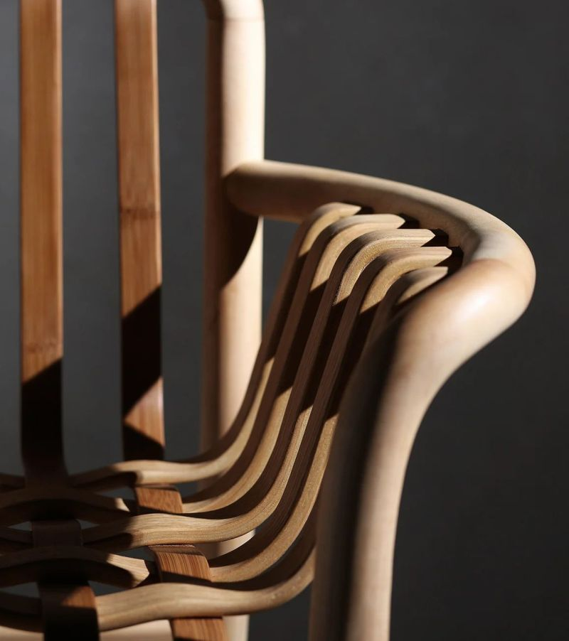 Lattice Chair by Chen Kuan-Cheng Features Woven Seat and Backrest