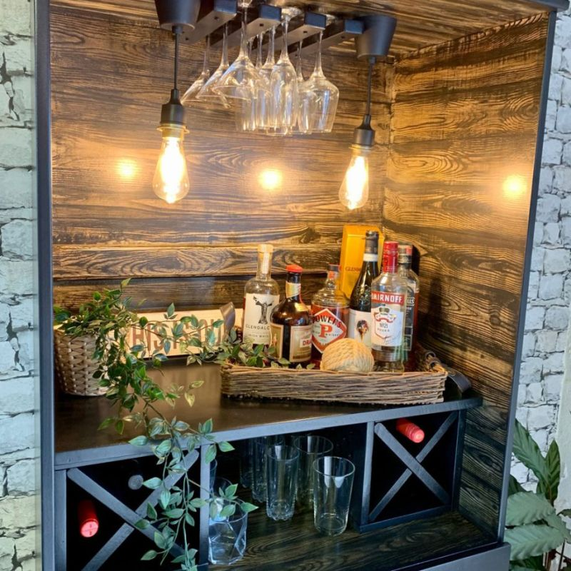 Woman Transforms Old Wardrobe into Home Bar