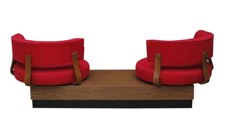 This 1970's Unusual Sofa with Swiveling Chairs is Perfect for Collectors