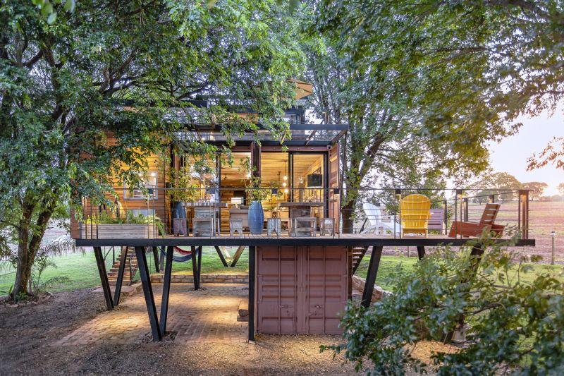 This Hanging House in Brazil is Built from Shipping Containers