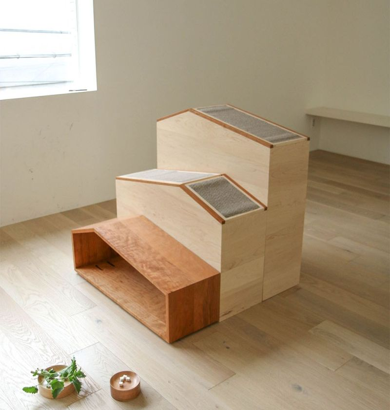 This House-Shaped Cat Tower Doubles as Storage Space