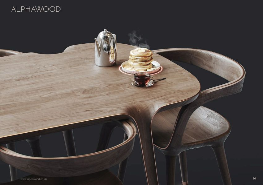 Alphawood Designs Vortex Table with Technological Features