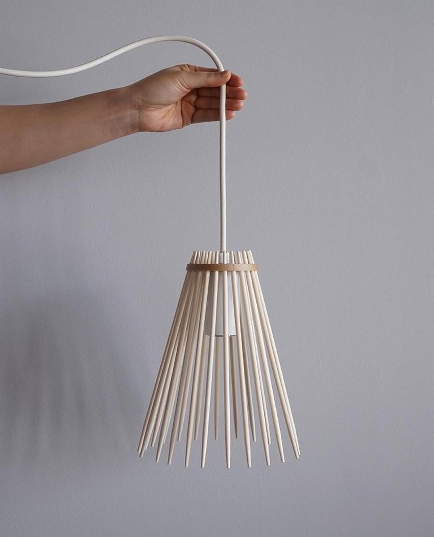 Keiji Ashizawa Crafts Lamp Shade from Disposable Wooden Chopsticks