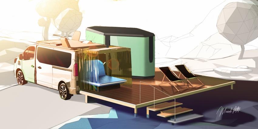 Hippie Caviar Camper Van That Expands Into Personal Glamping Resort To Be Revealed In 2021 CARAVAN SALON in Düsseldorf.